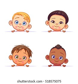 Vector set of multi-ethnic baby boys holding a white banner. Cute kids of different races with various hairstyles.