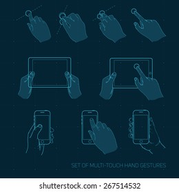 Vector set of multitouch hand gestures on the smartphone and tablet