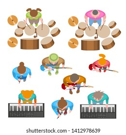 Vector set. The music band. Top view. Musicians and singers. View from above.