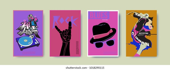 Vector set of music event poster design template. Rock, jazz, blues and hip hop poster design. Eps 10.