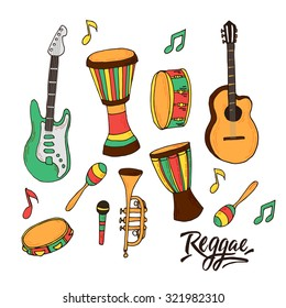 Vector set with music instruments for reggae style. Isolated music instruments for reggae with lettering.