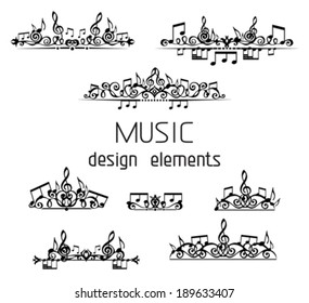 Vector set of music page decorations. Page dividers, calligraphic design elements and page decoration with music notes and treble clefs isolated on white background.