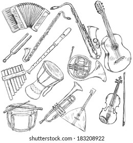 Vector Set of Musical Instruments: accordion, fork, clarinet, flute, sax, guitar, panpipe, african drum, french horn, drum, trumpet, balalaika, violin
