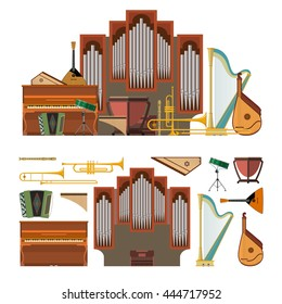 Vector set of musical instruments in flat style. Design elements and music icons isolated on white background.