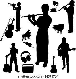 Vector set of Musical instruments and Players-6