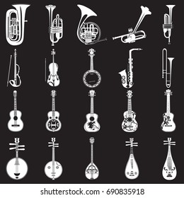 Vector set of musical instruments white templates on black background. Wind, string bowed and plucked musical instruments in flat style.
