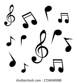 Vector set of musical notes in black color. Isolated illustrations on a white background