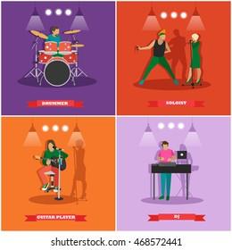 Vector set of musician and singers. Music rock band concept banners. Rock guitarist, dj, drummer.