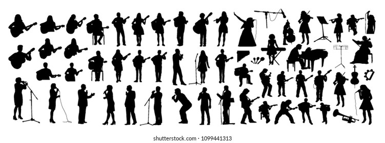 Vector set of musicians silhouettes