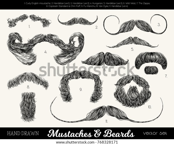 Magnificent Vector Set Mustaches Beards Hand Drawn Stock Image Download Now Natural Hairstyles Runnerswayorg
