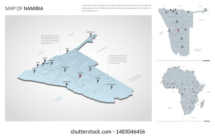Vector set of Namibia country.  Isometric 3d map, Namibia map, Africa map - with region, state names and city names.
