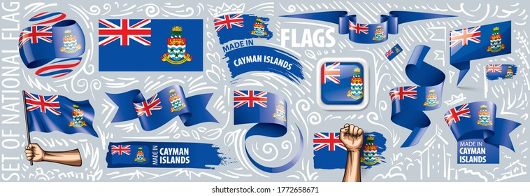 Vector set of the national flag of Cayman Islands in various creative designs