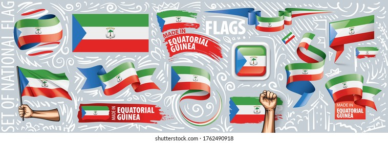Vector set of the national flag of Equatorial Guinea in various creative designs