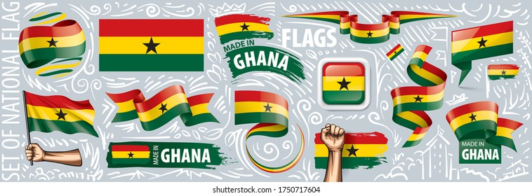Vector set of the national flag of Ghana in various creative designs
