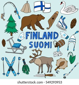 vector set of national symbols of Finland. Bear, deer, skiing, flag, sauna, fishing, clothing and musical instruments. Volume lettering Suomi, Finland.