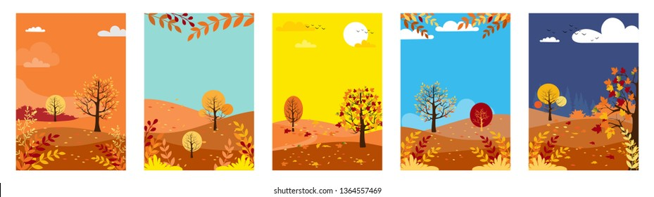Vector set of natural background with copy space for text,Autumn panorama lanscape forest and hills with maples leaves falling from tree, Collections for banner, poster, design templates and wallpaper