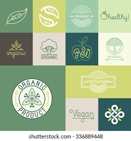Vector set of natural, organic, vegan badges and logo design templates in trendy linear and flat style - collection of design elements, icons and emblems for fresh and healthy products