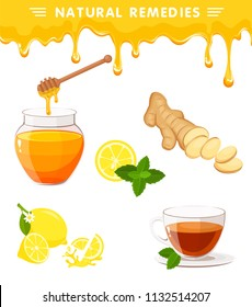 Vector set of natural remedies with ginger root sliced, tea in glass cup, lemon, honey and honey dipper, wood stick, mint. Melting honey drops isolated on background. Illustration of natural medicine