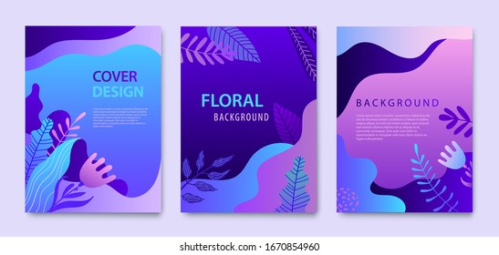 Vector Set of nature covers, brochure, annual report design templates for beauty, spa, wellness, natural products, cosmetics, fashion, healthcare. Purple plants, waves dynamic concept