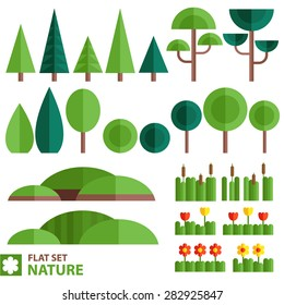 Vector set of nature icons in a flat style. Trees, shrubs, grass, flowers, reeds and other natural objects.