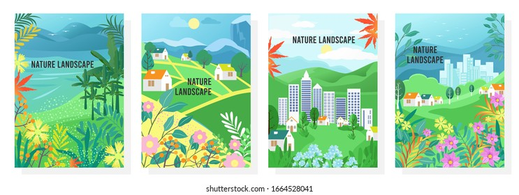Vector set nature landscape, nature background, banner, cover, templates, posters.