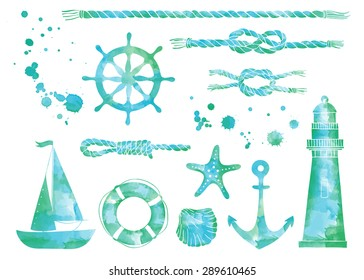 Vector set of nautical elements. Blue vector marine background. Watercolor sea elements. Isolated elements for easy use.