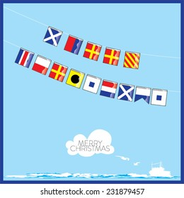 A vector set of Nautical flags with letters of Merry Christmas