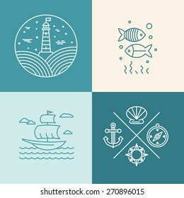 Vector set of nautical icons and logo design elements in trendy linear style