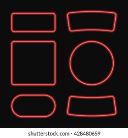 Vector set of neon frame. Square and circle banner. Isolated on black background. Graphic illustration for Your Design.
