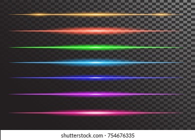 vector set of neon laser glow light . horizontal gleaming line flash effect on transparent. Decorative colorful highlight design detail for text ads and titles.