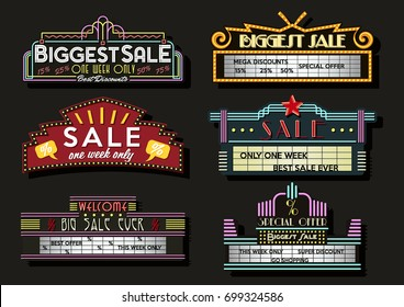 Vector Set of Neon Signboards and Light Boxes. Retro Cinema Stylized
