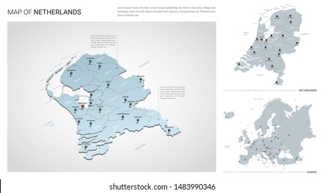 Vector set of Netherlands country.  Isometric 3d map, Netherlands map, Europe map - with region, state names and city names.