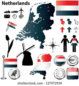 Vector set of Netherlands country shape with flags, windmills and icons isolated on white background