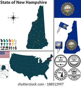 Vector set of New Hampshire state with flag and icons on white background