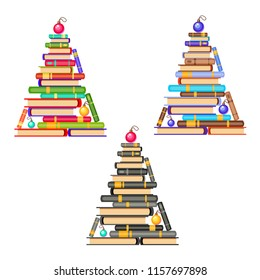 Vector set of new year trees of brown and blue, green and red, black-and-white books and christmas balls. Cartoon x-mas illustration. Cute pile of books. Home library. Happy education.