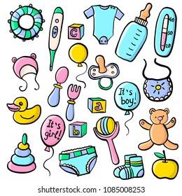 vector set of newborn accessories, hand drawn illustration