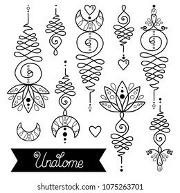 Vector set of nice hand drawn unalome tattoos. Buddhism life path sign, spiritual sacred geometry image.Line vector vintage healing tattoo floral decor.