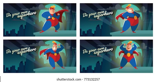 """Vector set of night city cards """"Be your own superhero"""" with cartoon images of funny fat superheroes in red-blue suits, cloaks and red masks, with different actions and emotions on a white background."""
