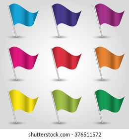 vector set of nine colored flag - waving simple triangle icons of flags on slanted pole - blue, red, violet, pink, orange, yellow and green colors