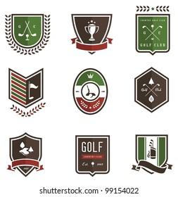 Vector set of nine colored golf emblems