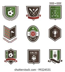 Vector set of nine colored sport emblems