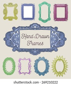 Vector set: Nine Colorful Hand Drawn Frames With Intricate Borders