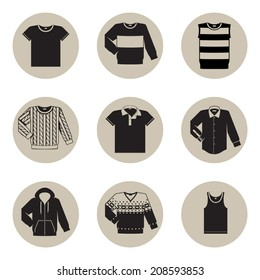 Vector set of nine different black and beige men wear (fashion) circle icons featuring t shirt, jersey, vest, wool sweater, polo shirt, dress shirt, hooded sweatshirt, pullover and undershirt