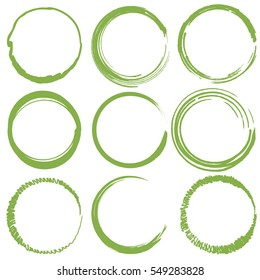 Vector set of nine empty hand drawn scribble circles