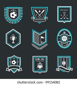 Vector set of nine modern sport emblems