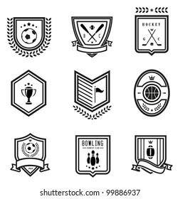 Vector set of nine outlined sport emblems