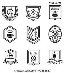 Vector set of nine outlines food emblems