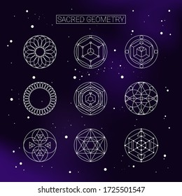 Vector set of the nine sacred geometical figures