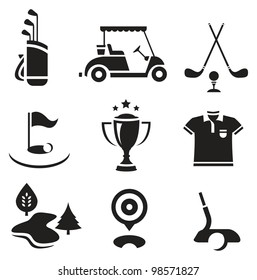 Vector set of nine stylized golf icons