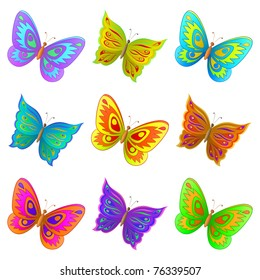 Vector, set from nine various color flying butterflies